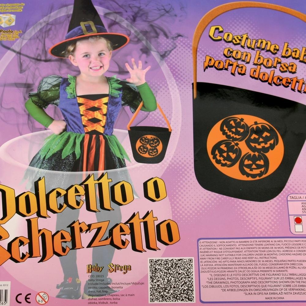 Vestiti Halloween Bambina 3 Anni.Costume Halloween Bambina Strega Baby Dolcetto O Scherzatto